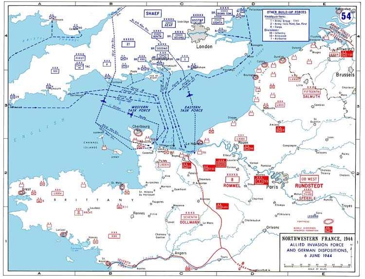 map of the allied invasion force plan