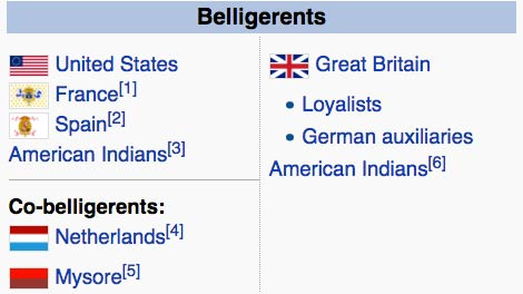belligerents in the revolutionary war